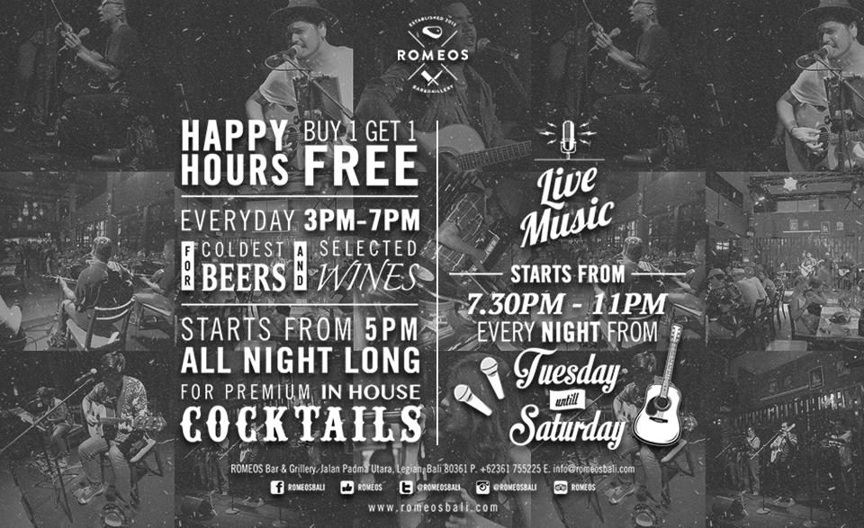 Happy Hour at Romeos Bali Restaurant Legian Bali